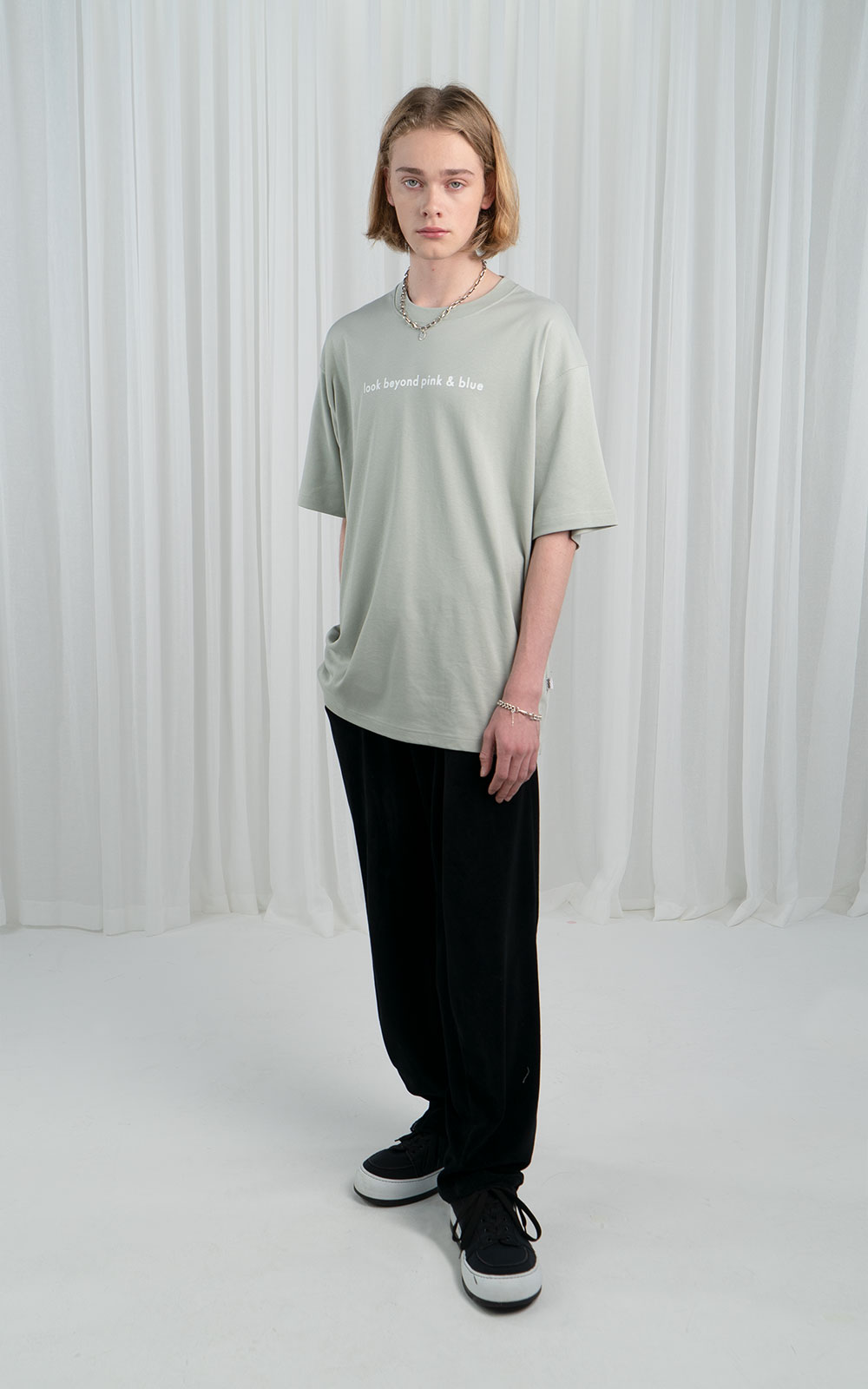오디지 온라인 스토어LOOK BEYOND PINK&BLUE T-SHIRT_MINT GREYOwn label brand